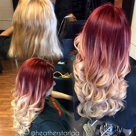 Red To Ash Blonde Balayage Ombre Red Hair Blonde Hair