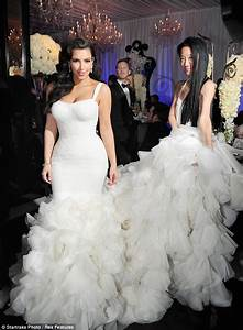 Kim kardashian dons wedding dress number 2 at reception for Kim wedding dress