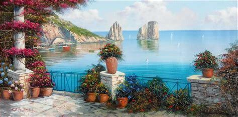 Capri Seascape Italy Painting By Ernesto Di Michele
