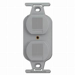 Gray Duplex Outlet Blank Filler Insert For Wall Switch Plates