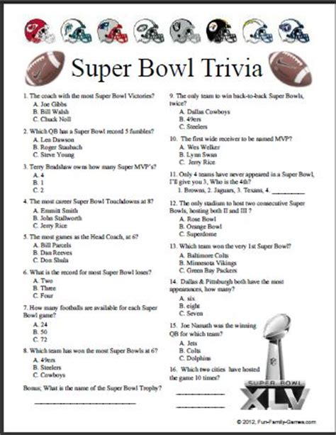 nfl mega fan quiz 7 best images of nfl printable quizzes nfl mascot trivia