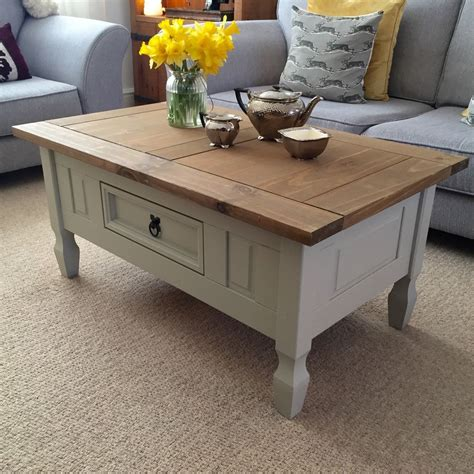 shabby chic coffee table uk shabby chic solid pine coffee table farrow ball french grey ebay