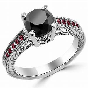 245ct black diamond red ruby engagement ring 14k gold for Wedding rings with rubies and diamonds