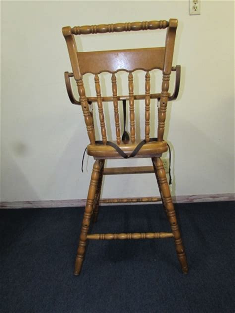 lot detail vintage solid wood carved back baby high chair