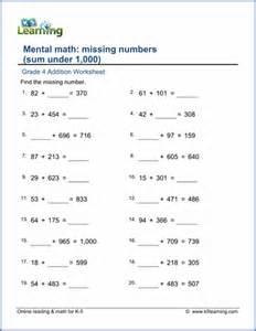 Missing Number Addition Worksheets