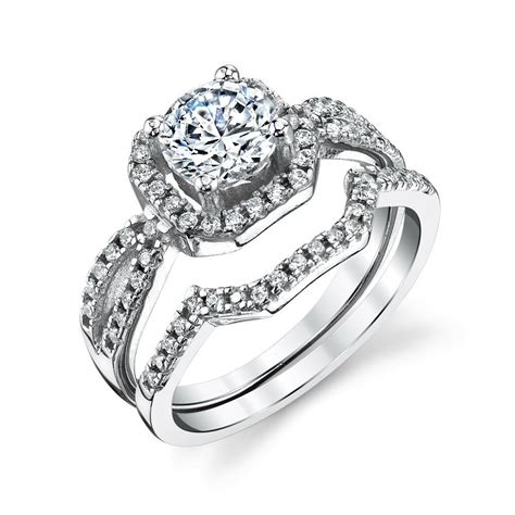 sterling silver cz engagement wedding ring set cubic