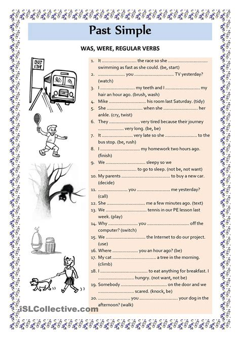 Past Simple Was Were Regular Verbs  Esl Worksheets Of The Day  Pinterest Engelsk
