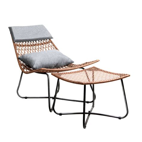 outdoor pe rattan wicker lounge chair with ottoman buy