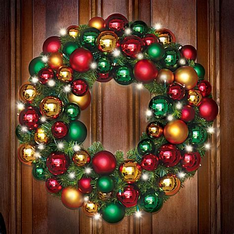 "The Ornament Ball Cordless Prelit Christmas Holiday Wreath 50 LEDs Lighted 27"""