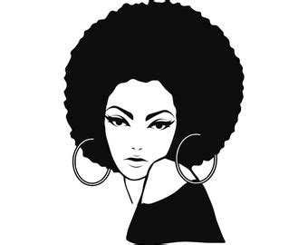 Female woman head hairstyle free vector. Afro american lady | Etsy
