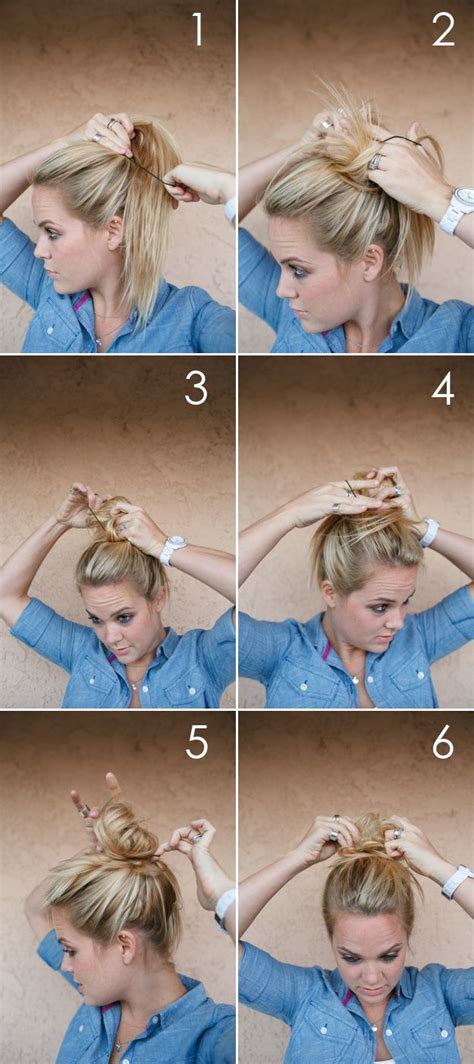 autumn grey hair tutorial messy bun twist tuck curl
