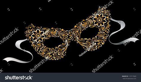 illustrated silhouette masks flower pattern ornament stock