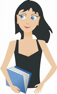 Clipart student girl with book