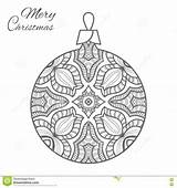 Christmas Coloring Ball Adult Zen Doodle Ornament Vector Preview sketch template