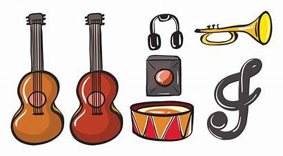 Instruments Musical Various Vector Background Notes Illustration