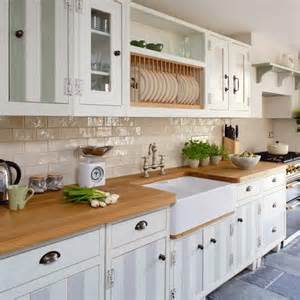 galley kitchen renovation ideas yes white cabinets wood worktop grey floor tiles just