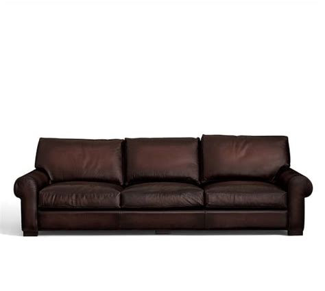 turner roll arm leather sleeper sofa pottery barn