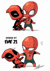 DEADPOOL AND SPIDERMAN CHIBI RENDER by EME-21 on DeviantArt