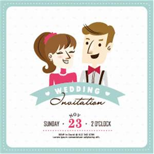cartoon style wedding invitation cards 03 free download With caricature wedding invitations online free