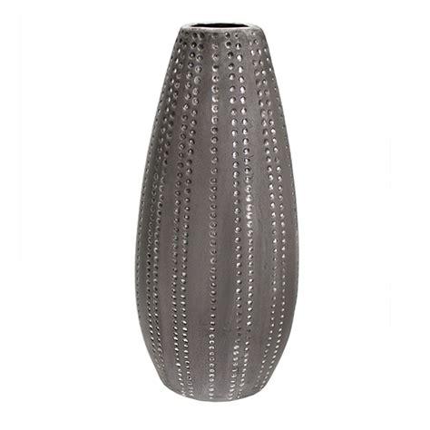ceramic silver oval silver ceramic vase 6 x 4 5 x 15 veronneau plants and decor