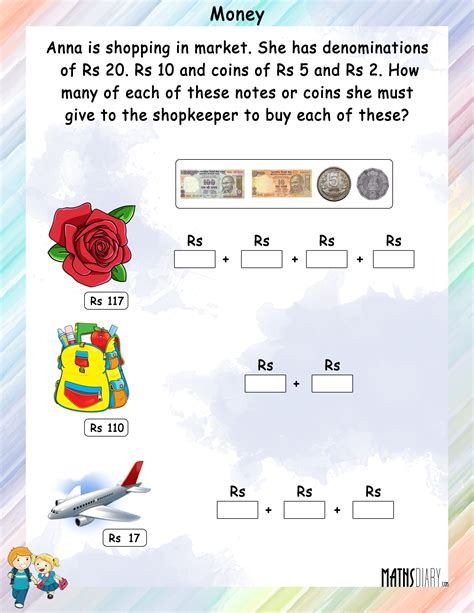 currency grade 1 math worksheets page 2