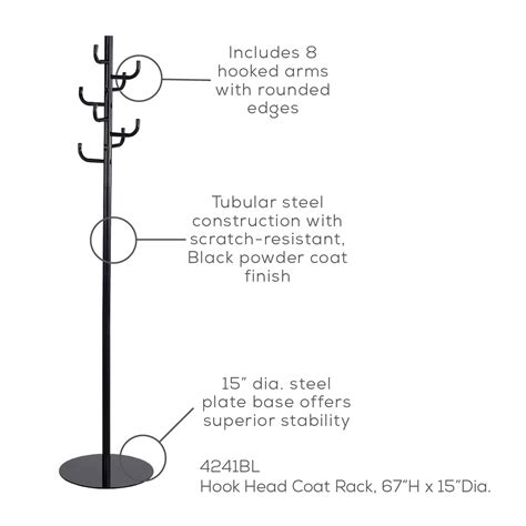 hook head coat rack safco products