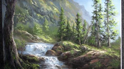 Oil Painting Waterfall Landscape