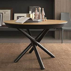 Table Ronde Extensible Design : table design extensible ronde en bois avec pied central forme mikado fahrenheit 4 ~ Teatrodelosmanantiales.com Idées de Décoration