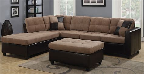 brown microfiber sectional sofa beige brown microfiber sectional sofa w reversible chaise lounge ottoman ebay