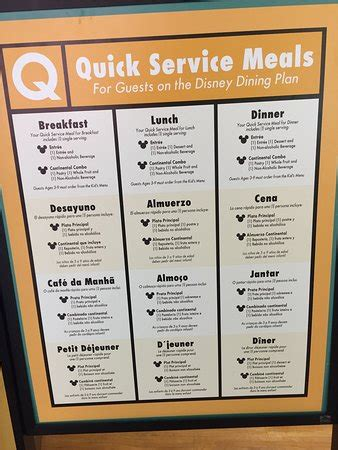 menu food court disney dining plan picture  disneys