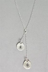 two initial necklace metal stamping pinterest With 2 letter initial necklace