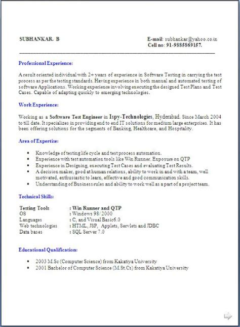 Traditional Resume Format Exles by Traditional Resume Format