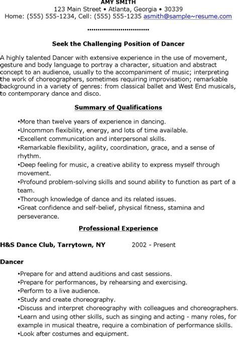 dancer resume template most of dancer has minimum