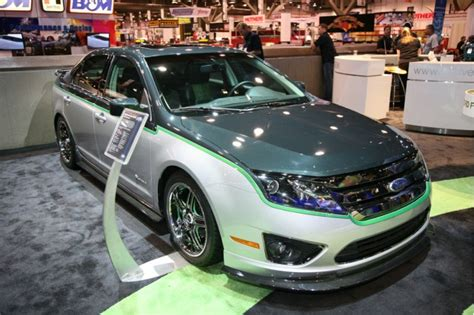 green   cool customized  ford fusion hybrid show car