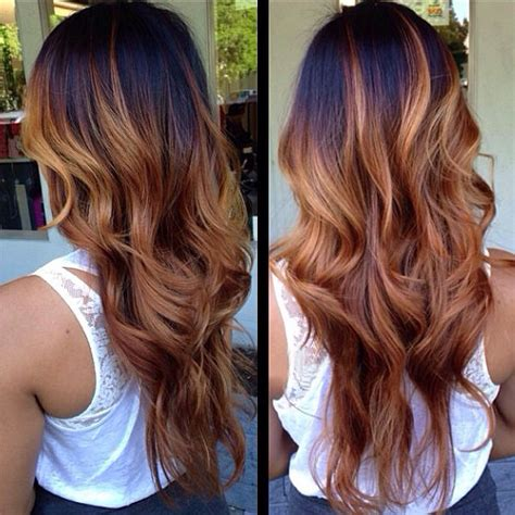dark roots light ends technique dark brown hair roots caramel ombre on tips perfect for