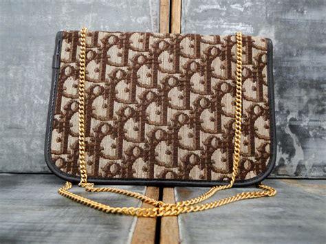 christian dior vintage brown logo jacquard chain bag