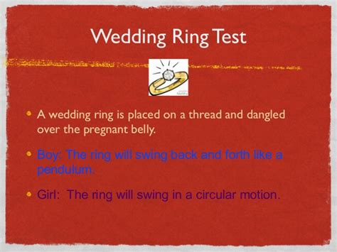 wedding ring test during pregnancy baby vash guess