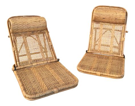 vintage wicker floor l vintage rattan and wicker reclining floor chairs a pair