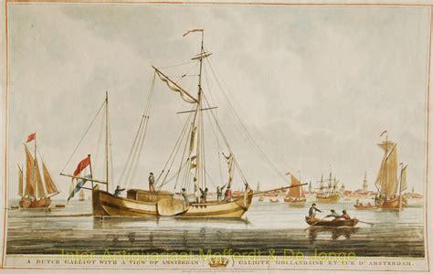Platbodem Naar Engeland by Amsterdam Dutch Galliot Inter Antiquariaat Mefferdt