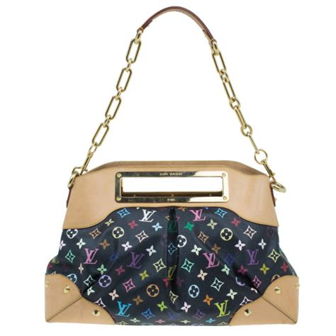 louis vuitton black multicolor monogram canvas judy bag mm