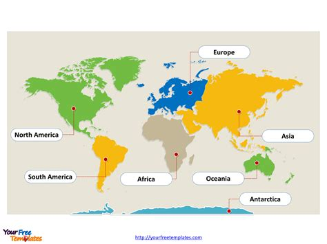 map template world map with continents free powerpoint templates