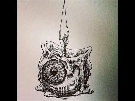 draw candle eye  pencil   horror step
