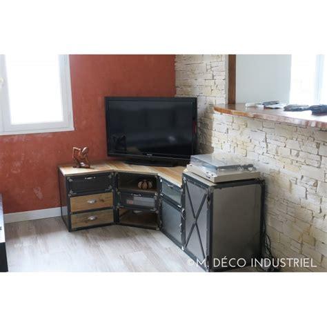 nouveaute cuisine meuble tv d 39 angle industriel en acier et pin massif m