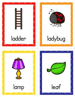 l words and pictures printable cards leaf legs things that start with l cards alphabet printables a