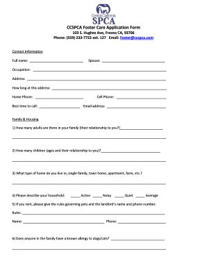 foster care application form fillable online ccspca foster care application form fax