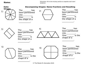 composing and decomposing shapes with equal parts using