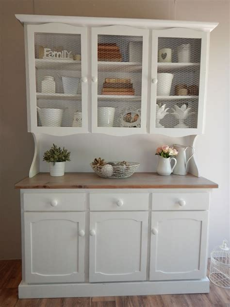 Painted Kitchen Furniture by Solid Timber White Dresser Hutch Distressed