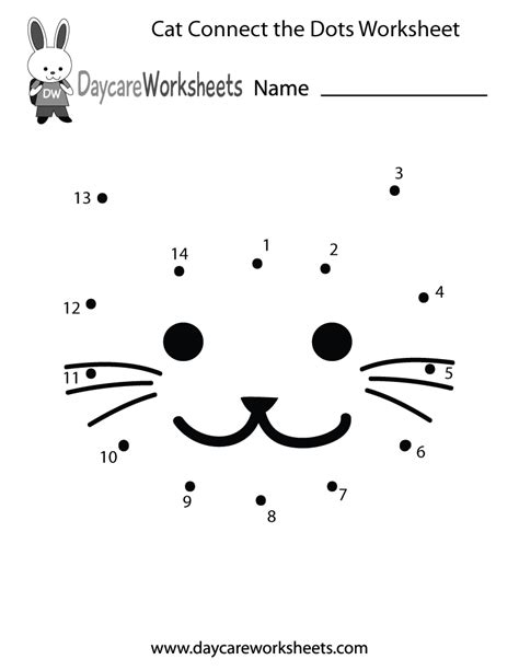 printable cat connect  dots worksheet  preschool