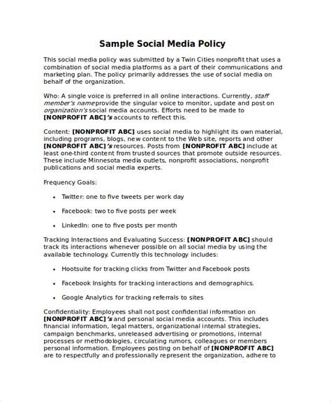 social media policy template for schools image collections
