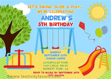 playground birthday party invitations kids birthday